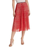 Loyd/Ford Pleated Mesh Overlay Midi Skirt