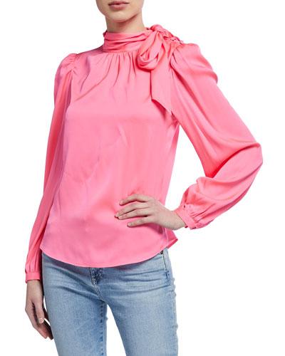 Ashlyn Tie-Neck Stretch Silk Top