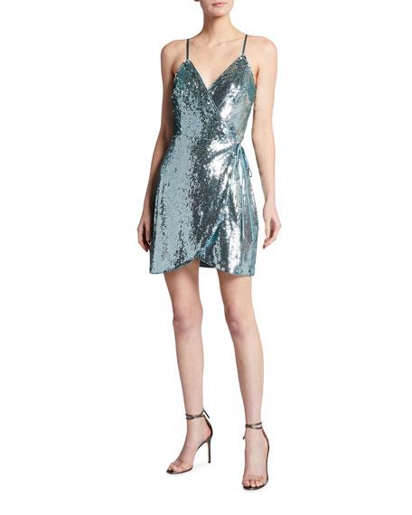 Aidan by Aidan Mattox Spaghetti-Strap Sequin Wrap Cocktail Dress