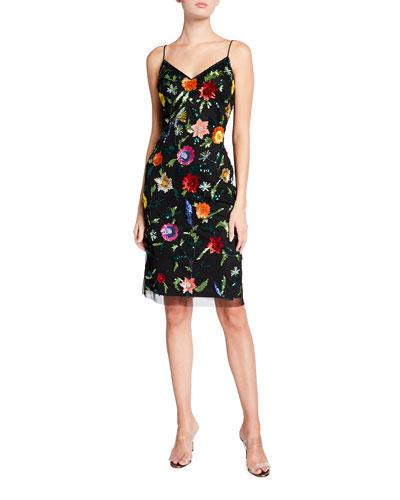 Hand-Beaded Midi Slip Dress