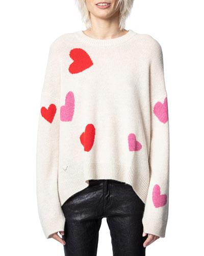 Markus Heart Intarsia Cashmere Sweater