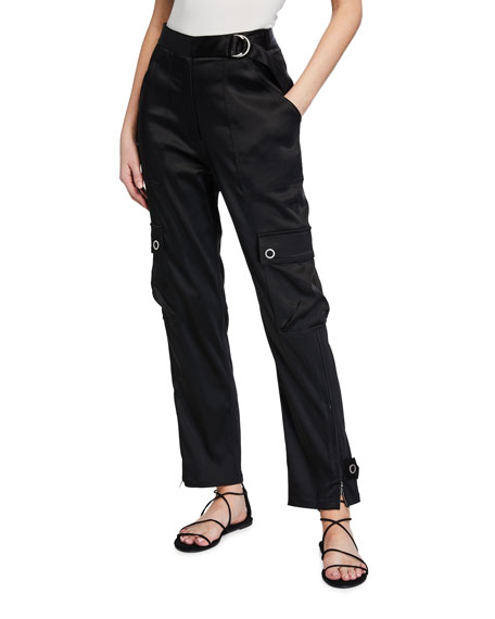 Jonathan Simkhai Structured Sateen Utility Belted Pants