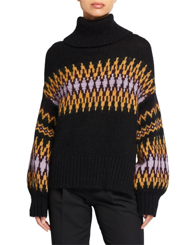 Tracey Intarsia Turtleneck Sweater