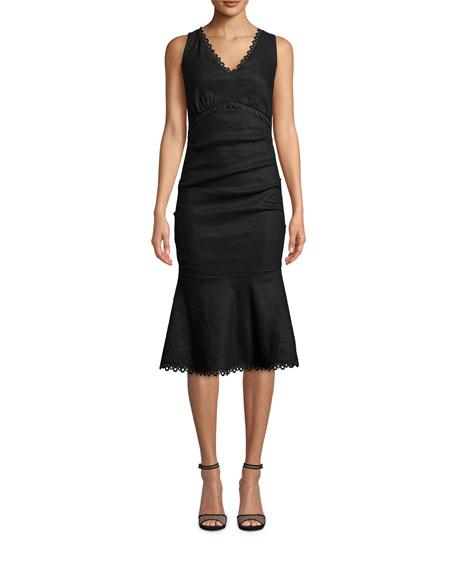 Nicole Miller Sleeveless Stretch Linen Midi Dress