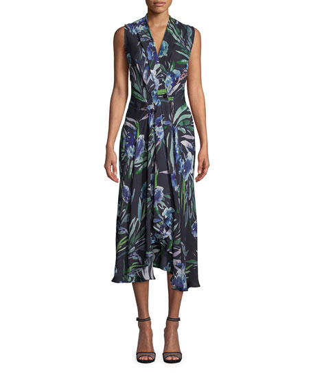 Nicole Miller Blue Mirage Floral-Print Sleeveless Midi Dress
