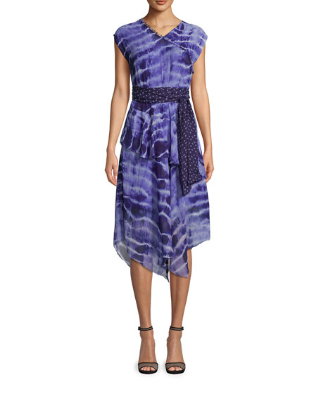 Nicole Miller Watercolor Tie Dye Midi Dress