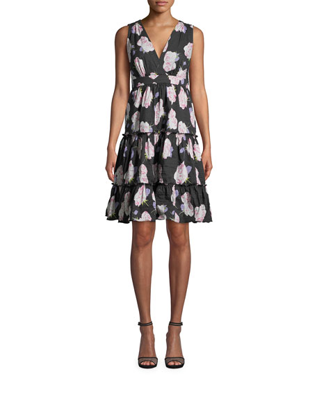 Nicole Miller Rosa Gallica Sleeveless Tiered A-Line Dress
