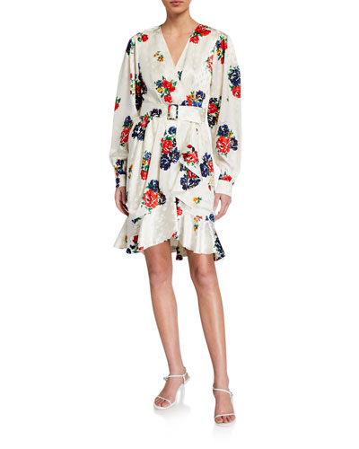 Floral Printed Silk Wrap Dress