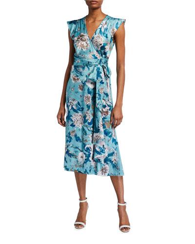 Gwendolyn Reversible Satin Floral-Print Wrap Dress