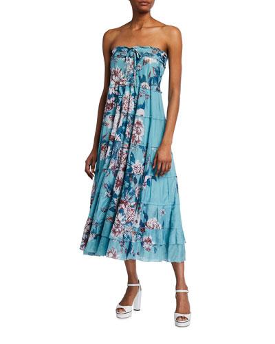 Julia Floral-Print Voile Midi Dress