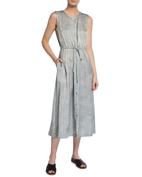 Eileen Fisher Wavy Print Sleeveless Drawstring-Waist Dress