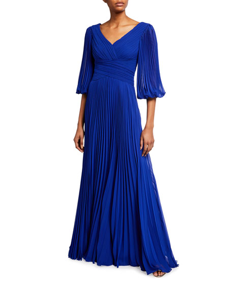 Rickie Freeman for Teri Jon V-Neck 1/2-Sleeve Accordion Pleated Chiffon Gown
