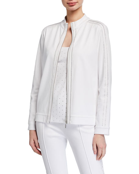 Joan Vass Sparkle Zip-Front Jacket