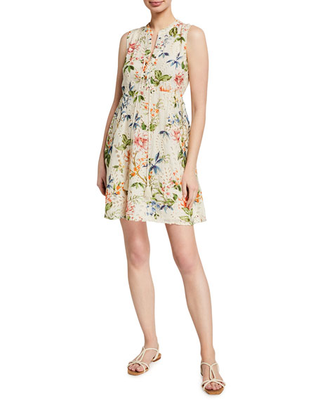 Johnny Was Caprice Floral Print Lace-Up Mini Dress