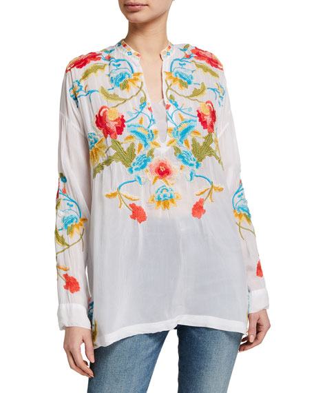 Johnny Was Vagabond Floral Embroidered Blouse