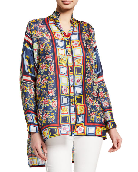 Johnny Was Delphine Printed Silk Blouse