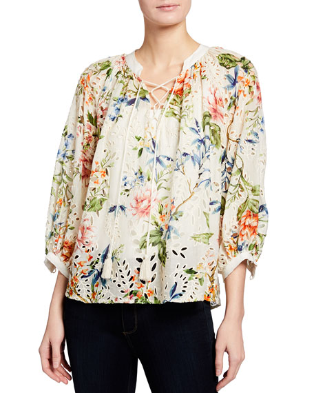 Johnny Was Sonnet Floral Print Eyelet Lace-Up Peasant Top
