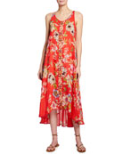 Johnny Was Abeline Floral Print Sleeveless Dress w/