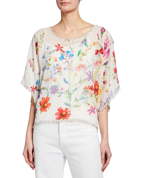 Johnny Was Yasmin Floral Print Crop Top