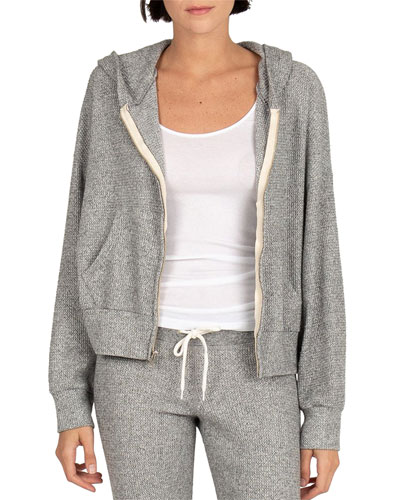Brushed Thermal Boxy Zip-Front Hoodie