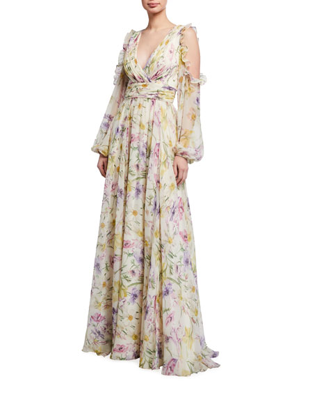Theia Cold-Shoulder Floral Printed Chiffon Gown