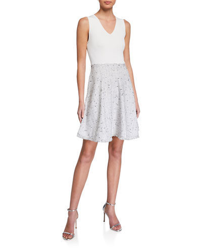 Adalad Knit Bodice Tweed Skater Dress