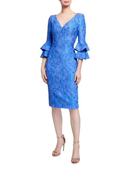 Theia V-Neck Bell Sleeve Fitted Cloque Dress