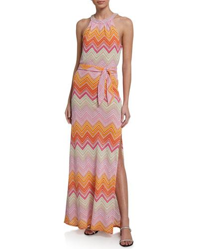 Speakeasy Chevron Halter Maxi Dress