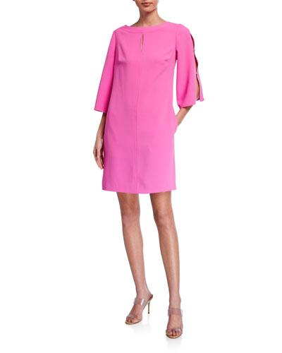 Larsen Split-Sleeve Crepe Dress
