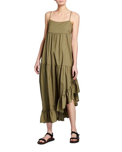 Gemma Tiered Asymmetric Ruffle Dress