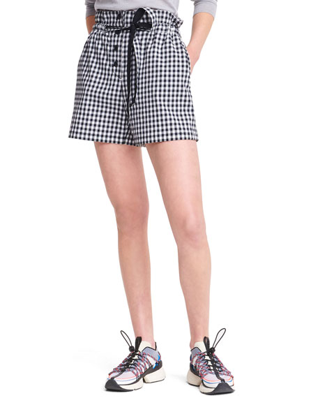 Rag & Bone Camille Pleated Gingham Print Shorts