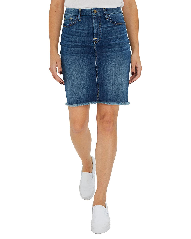 Frayed Hem Denim Pencil Skirt