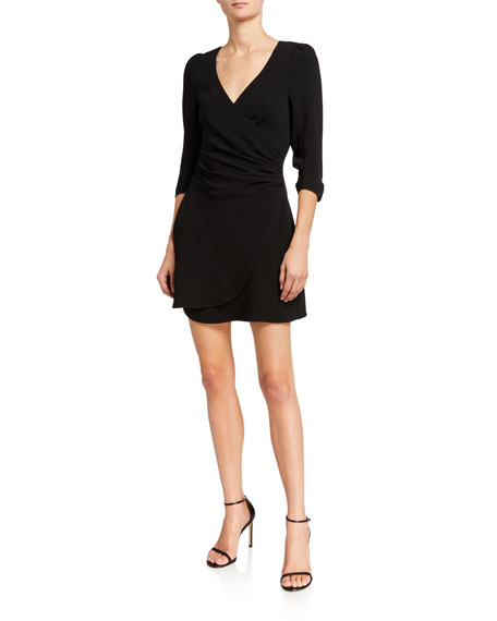 cinq a sept Theo 3/4-Sleeve Crepe Faux-Wrap Dress