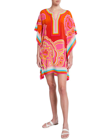 Trina Turk Theodora Floral Print Multi-Stripe Silk Dress