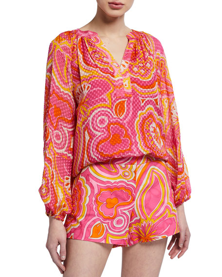 Trina Turk Peace Floral Jacquard Long-Sleeve Top