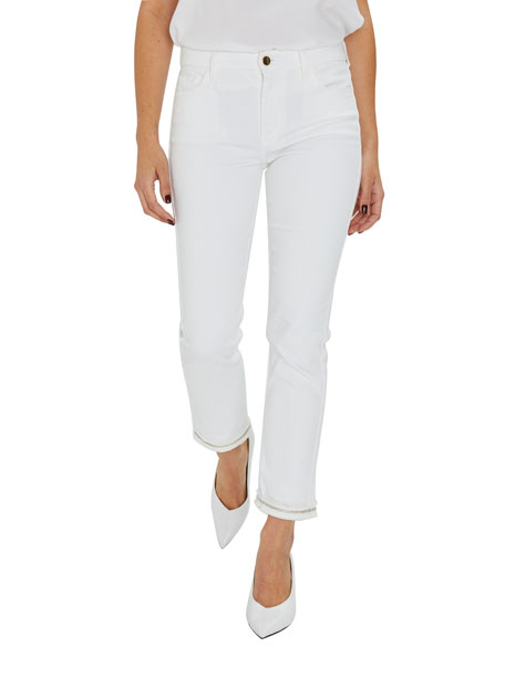 Jen7 by 7 for All Mankind Mid-Rise Ankle Straight Jeans w/ Embellished Hem