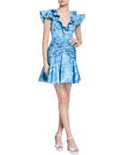 flor et.al Dante Ruched Mini Ruffle Dress