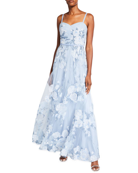 Marchesa Notte Sleeveless Embroidered Gown w/ Draped Corset Bodice