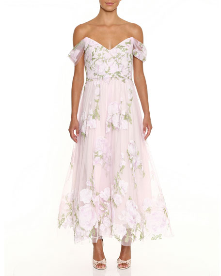 Marchesa Notte Off-the-Shoulder Floral Embroidered Dress