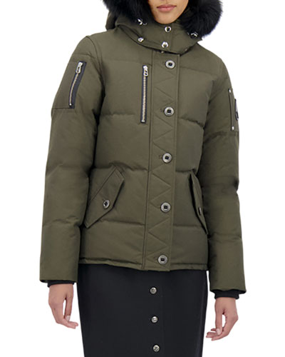 3Q Fox-Trim Detachable-Hood Puffer Coat