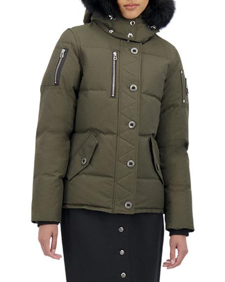 Moose Knuckles 3Q Fox-Trim Detachable-Hood Puffer Coat