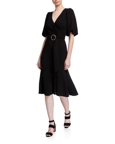 Esmeralda Puff-Sleeve Crepe Dress