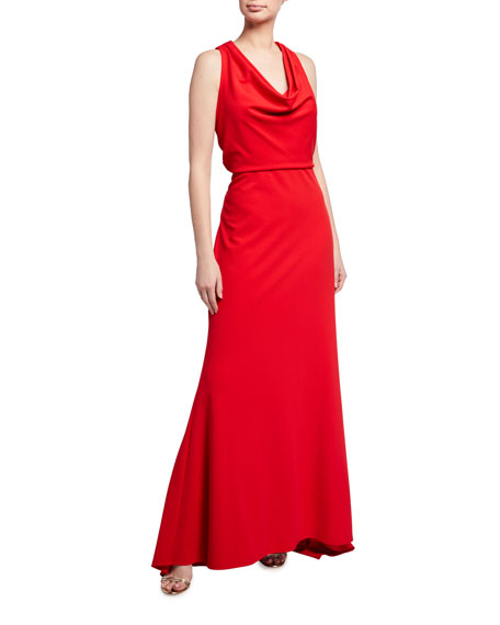 Tadashi Shoji Sleeveless Crepe Gown with Crossover Back