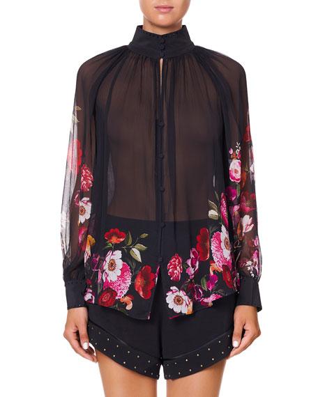 Camilla Semisheer Button-Up Floral Shirt