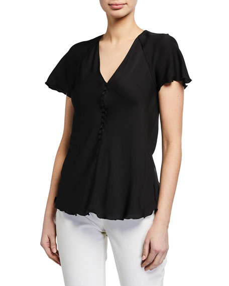 Theory V-Neck Button-Front Silk Top