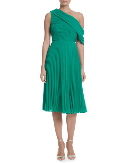 Badgley Mischka Collection Pleated One-Shoulder Dress
