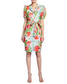 Badgley Mischka Collection Palm Flower Printed Sheath Dress