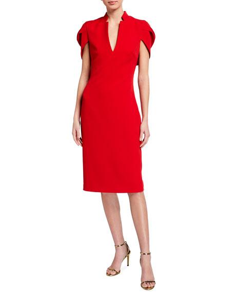 Badgley Mischka Collection V-Neck Cape Cocktail Dress