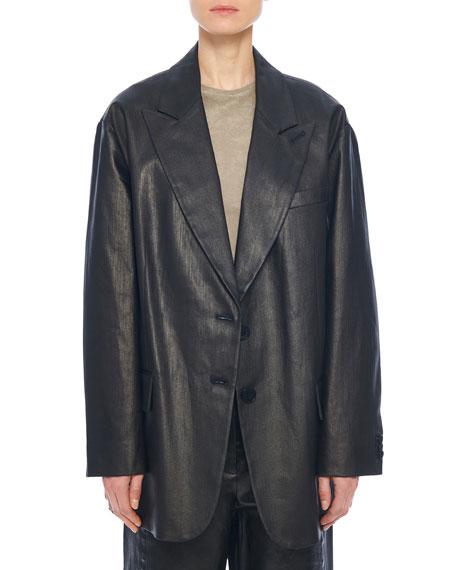 Tibi Liam Coated Denim Tuxedo Jacket
