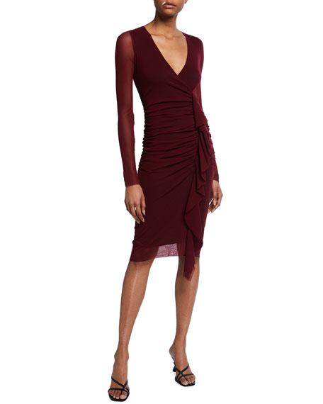 Fuzzi Solid Long-Sleeve Front Ruffle Dress